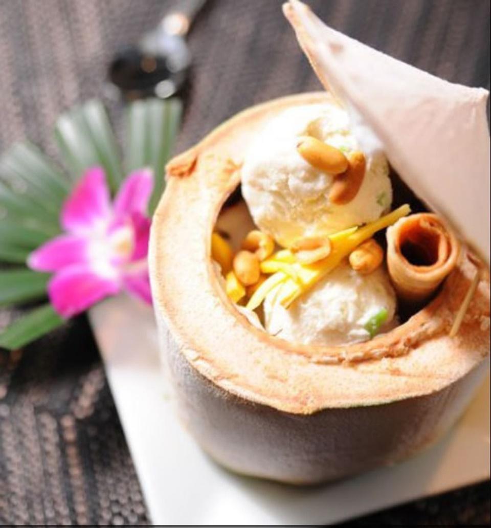 Homemade Coconut Ice Cream in Fresh Coconut