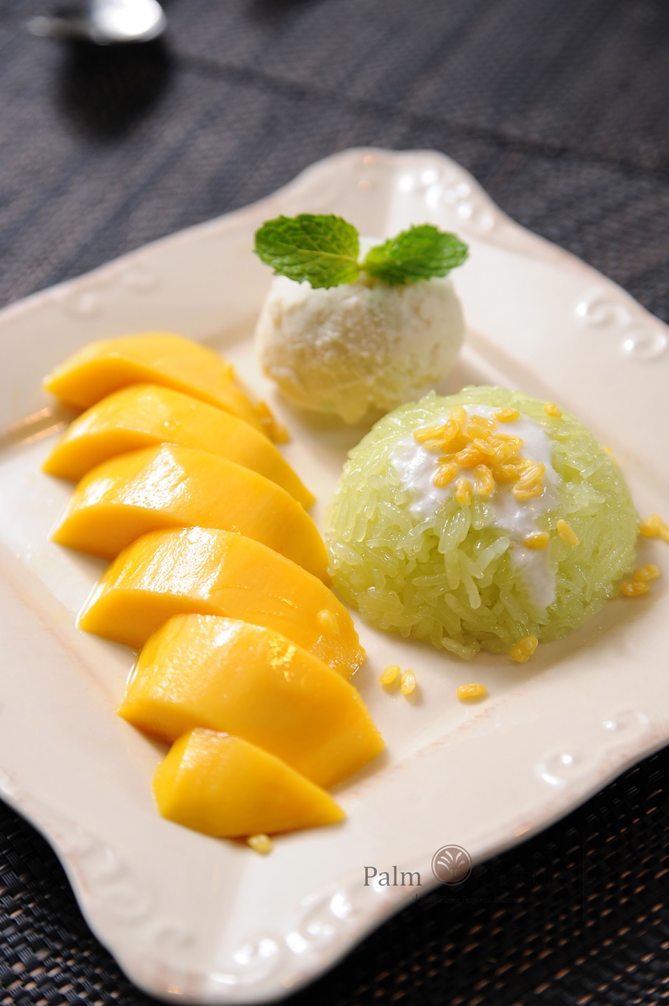 Mango Sticky Rice with Homemade Coconut Icr Cream