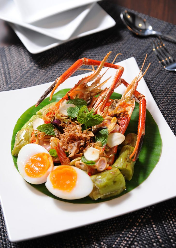 Spicy Fresh Shrimp Salad with lemongrass and grilled aubergine